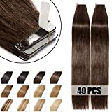 40 Pcs Extensions Adhesives Cheveux Naturels Bande Adhesive Tape in Human Hair Extensions 40CM - #02 Brun