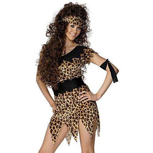 Smiffys, Damen Höhlenfrau Kostüm, Tunika, Gürtel, Stirnband und Armband, Größe: S, (Höhlenmensch Kostüm Uk Kostüme)