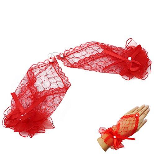 e Brauthandschuhe Abendhandschuhe Hochzeit Party (Rot) (Weiße Spitze Fingerlose Handschuhe)