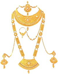 a1096849fe773c SATHIYA JEWELLERS Gold Plated Bridal 8 Pieces Jewellery Set for Women