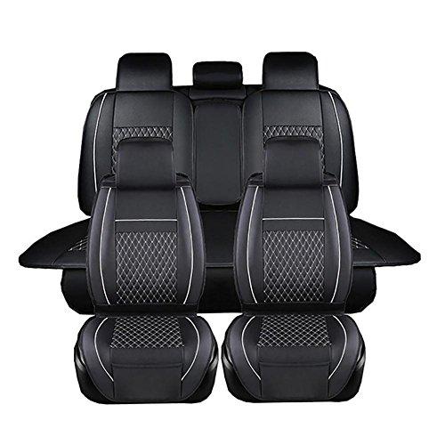 BRLIGE Universal Komplett-Set 5 Auto-Sitzbezüge aus Kunstleder für vorne und hinten, schwarz-weiß.