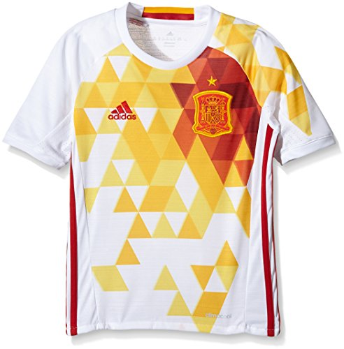 adidas Kinder UEFA Euro 2016 Spanien Auswärtstrikot Replica Trikot, White/Power Red, 152