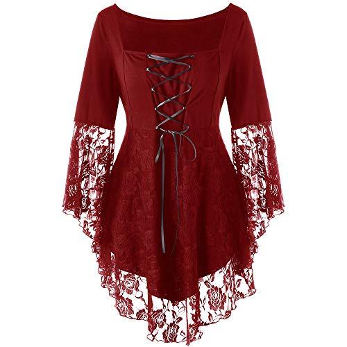 �e Bluse T-Shirt Top Damen, Platz Kragen Floral Lace Up Patchwork Bänder Gothic Kleidung Langarm Spitzen Shirt Mit Stehkragen ()
