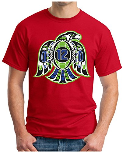 OM3 Seahawks 12TH Man - T-Shirt | Herren | American Football Shirt | Super Bowl 52 LII | NFL | S - 5XL Rot