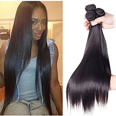 Richair 100% Human Hair 3Bundles Tissage Indien Lisse Couleur #1B 18 18 20 Pouces(45 45 50cm) Tissage Double Cousua La Machine 300g