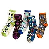 LHZY Womens Girls Socken 5 Pack, lustige Neuheit Linked Circle Design, Baumwollmischung Crew Over Knöchel