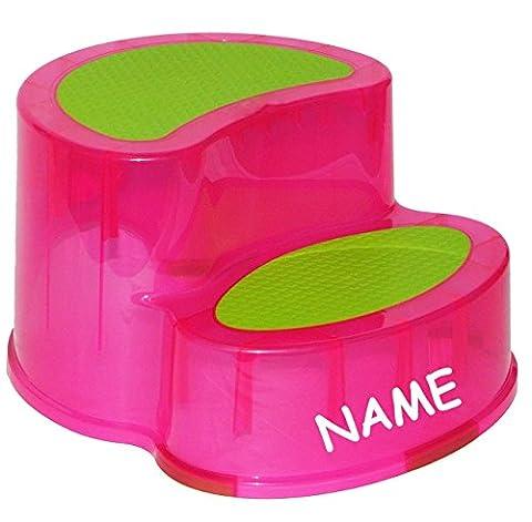 Trittschemel / Tritthocker / Kindersitz - incl. Namen - groß - ROSA PINK - Kinderschemel & Kindertritt - ideal als Erhöhung & Sitz - Kinderhocker - auch für Toilettentrainer - für Kinder Mädchen