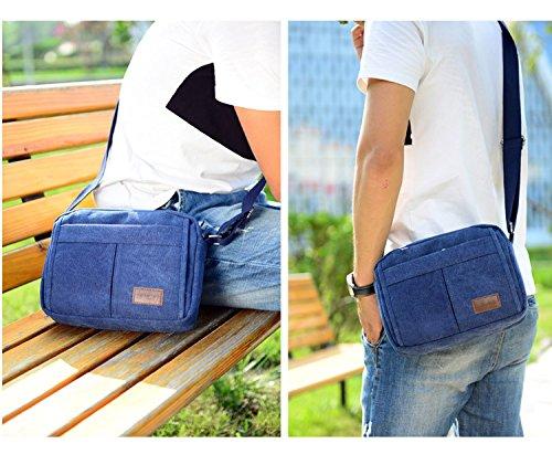 Super Modern Leinwand Umhängetasche Messenger Bag Retro Leichte Kleine Umhängetasche Mini iPad Tasche Wandern Tasche Freizeit Daypack Blau