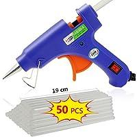 TedGem Pistola Silicona Caliente Pistola de Silicona Con 50 piezas 190mm Barras De Pegamento Alta Temperatura Kit, pistola de pegamento caliente para DIY Arts & Craft (20W, azul)