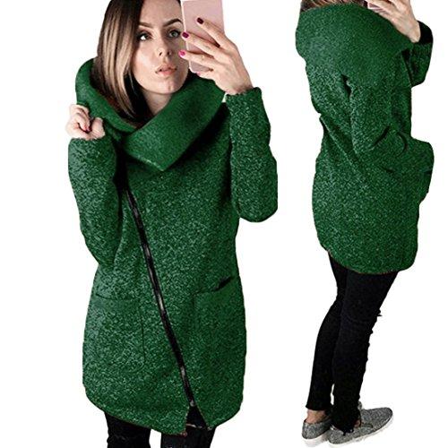 Manteaux Hiver Femme Kolylong Grande Taille Veste à capuche Manteau long Fermeture éclair Sweatshirt Casual Chemisiers Outwear Sport Vert
