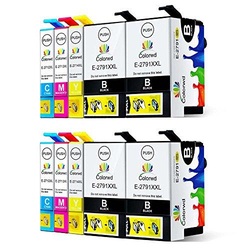 Preisvergleich Produktbild Colorwd Ersatz Epson 27XL Hohe Ergiebigkeit Druckerpatronen kompatible Epson Workforce WF-3620 WF-3640 WF-7110 WF-7610 WF-7620 (4 Groß Schwarz/2 Cyan/2 Magenta/2 Gelb, Packung mit 10)