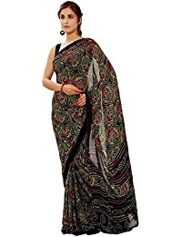 Aaradhya Fashion Women's Crepe Saree With Blouse Piece (Afmoss-0130_Black)