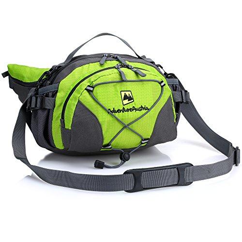 Outdoor Hüfttasche Groß mit Getränkehalter Wasserfest Bauchtasche mit Flaschenhalter - für Wandern Camping Reise usw um Wertsachen mit sich zu tragen. Einstellbar & reflektierend. (Grün) - Flaschenhalter Mit Bauchtasche