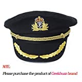 Cappello del capitano della maglia di Geekbuzz Unisex Costume Navale registrabile del marinaio del navigatore per gli uomini Donne Adulti