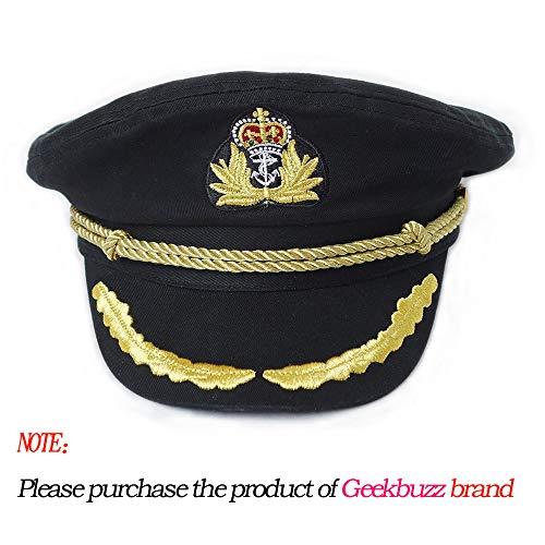 Geekbuzz Marine Kapitän Hut Unisex einstellbar Marine Kostüm Matrosenmütze für Männer Frauen Erwachsene