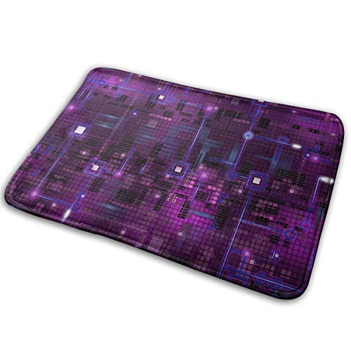 deyhfef Doormat Entrance Floor Rug Complicated Circuit Graphics Art Indoor Mat Non-Slip Flannel for Bedroom Bathroom Living Room Kitchen Home Decorative 60x40CM