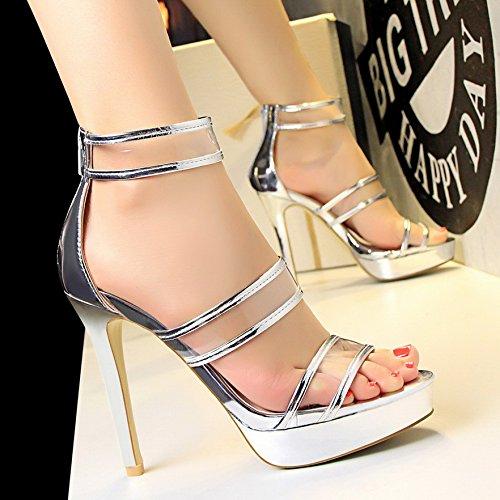 LGK&FA High Heels Sandales Imperméable Avec Une Fine Tous Les Poissons-Match Bouche Chaussures 39 Silver