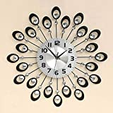 JXXDQ Reloj de Diamante Negro, Reloj de Pared de Hierro Forjado silencioso Creativo Creativo, Reloj de Pared de Cristal Grande con Esfera de Lujo y dial 3D