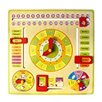 JUNGEN Hanging Educational Toys Time Calendar Weather Season Teaching for Kids over 3 Yers Old
