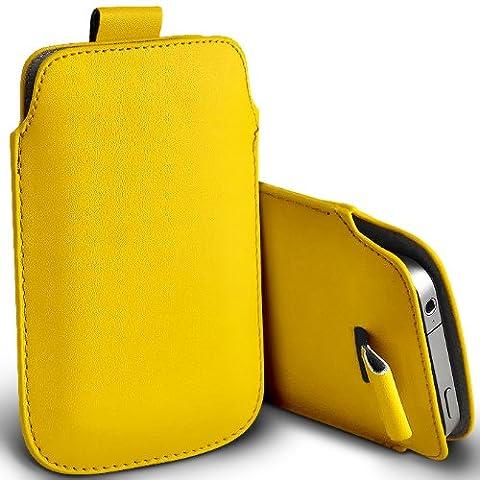 ONX3 HTC Tattoo Jaune PU Leather Pull Tab Protecteur Poche étui