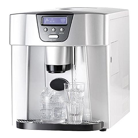 Rosenstein & Söhne Eisspender: Eiswürfelmaschine EWS-2300, Eis- und Wasserspender (Eiswürfelbereiter mit Warm (Bewertung Wasser)
