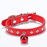Pet Stück Katze Kragen, verstellbare Halsbänder für Hunde und Katze, Hunde Halsbänder mit Glocke, Quick Release Sicherheit Schnalle Leder Halsband, Flash Diamant, geeignet für alle Hunde/Katzen