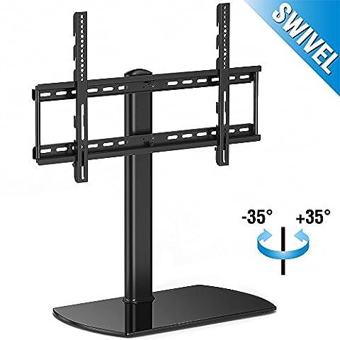 Fitueyes Universal TV Ständer Fernsehtisch Standfuss Glas für 32 bis 65 Zoll LCD LED höhenverstellbar schwenkbar schwarz