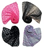 #10: Letz Dezine Women's Poly Cotton Combo Of 4 Scarves (Multicolor_170Cm X 50Cm)