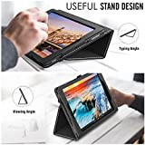 MoKo Case for All-New Amazon Fire HD 10 Tablet (7th Generation, 2017 Release) - Slim Folding Stand Cover with Auto Wake/Sleep for Fire HD 10.1 Inch Tablet, BLACK