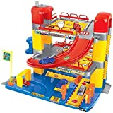 Dominiti Parkhaus mit 6 Autos auf 3 Ebenen inkl. Zubehör / Spielzeug für Kinder / Parkgarage / Auto-Haus