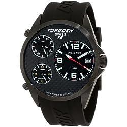 TORGOEN Swiss Herren-Armbanduhr Analog Edelstahl schwarz T08304