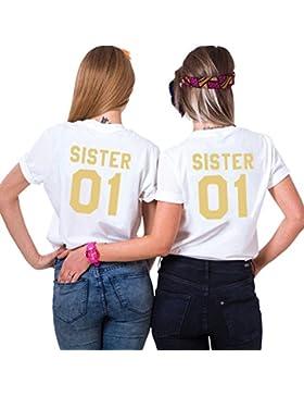 Mejores Amigas Camiseta Best Friend T-Shirt Impresión Sister 01 Dorada 2 Piezas 100% Algodón Camisa Hermana Manga...