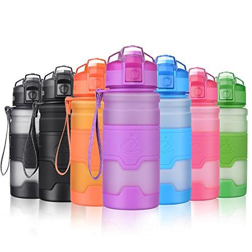 Grsta Sport Trinkflasche, 400ml/14oz - BPA frei Tritan Kunststoff Wasserflasche, Auslaufsicher Sporttrinkflaschen für Laufen, Yoga, Fahrrad, Kinder Schule, Wasser Flaschen mit Sieb, Ein Klick Geöffnet(Lila) (Wasser Flasche Mit Filter, 1 Liter)