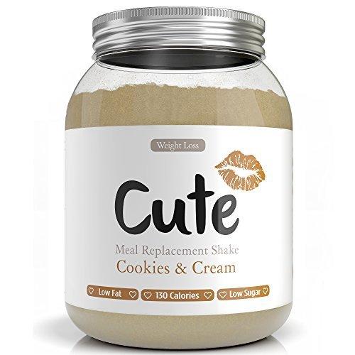 Cute Nutrition DiätShake zum Abnehmen - Kekse und Sahne Shake Pulver Mahlzeit Ersatz - Niedrige Kalorien, zuckerarm inkl. kostenlosen Trainingsplan -