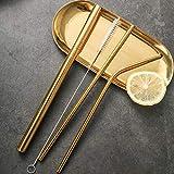 Gaddrt 3 Pz Cannucce Metalliche In Metallo Con Cannucce Riutilizzabili + 1 Kit Di Spazzole Detergenti Acciaio Inossidabile Che Bevono Cannucce Di Metallo (Gold)