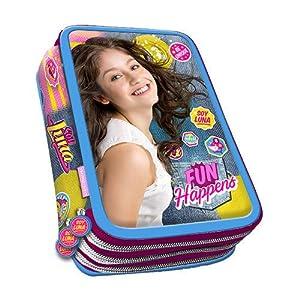 51W9VksHGPL. SS300  - SOY LUNA Juego de Mochila carrito 45 cm Escuela Estuche triple Pack merenda Diario para niña