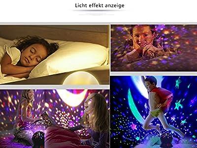 JQLampe Sternhimmel Projektor Nachtlichter Mit Timer Shut Off & 360 Grad Rotation Bunte Änderung LED Spielzeug Tischlampen Für Kind Schlafzimmer Weihnachten Geschenk Starry Stern Mond Projektions Nacht Lampe