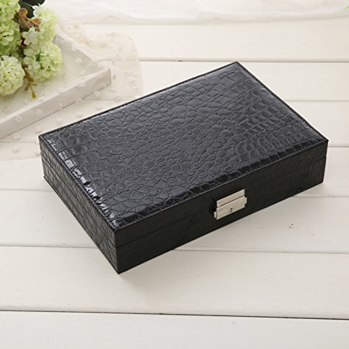 lzzfw Schmuckkästchen Weihnachtsgeschenk Box Lock einfache Holz Prinzessin kleine Ohr Aufbewahrungsbox, schwarz -