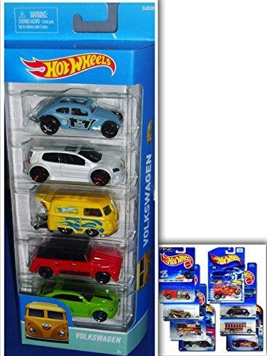 Hot wheels vw showdown bundle: 5 pack: volkswagen golf gti, volkswagen custom beetle, volkswagen kool kombi, volkswagen type 181, volkswagen bleetle & 1 hotwheels die cast metal car