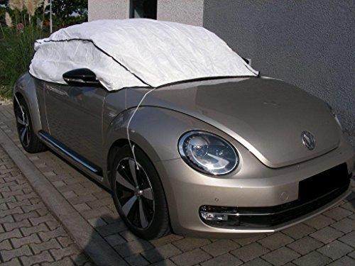 Halbgarage Autoabdeckung atmungsaktiv extrem leicht für Volkswagen VW NEW BEETLE CABRIO bis 2012 in weiß exclusiv aus Tyvek mit Lagerbeutel