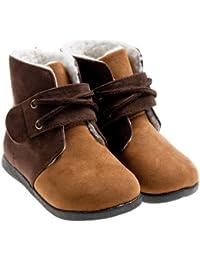 Little Blue Lamb Zapatos Botas Boots plisadas Beige Marrón
