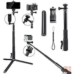 Tencro telescopico selfie stick set con treppiede e supporto per telefono, 29–95cm camera Phone treppiede monopiede per GoPro Hero 2018/6/5/4/3+/3/2/1/sessione, Ricoh Theta S, M15& altre fotocamere compatte e cellulari
