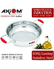 AXIOM KADHAI (Stainless Steel Induction Base KADAI with Silicon Stay Cool Handle)