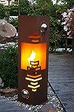 Feuersäule Modern Edelrost Rost Metall Gartendeko Garten Stele Fackel Feuer Säule