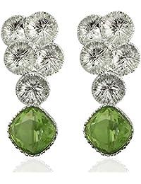 Spargz Rhodium Plated Green Diamond Grape Shape Earrings For Women AIER 952