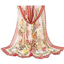 1bf5a0ae07b AIMEE7 Femme Écharpe en Mousseline de Soie Mode Rétro Boho Imprimé Longue  Foulard Châle