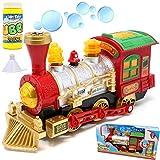 JOYIN Dampflokomotive Motor Auto, Seifenblasenmaschine Zug mit Licht und Ton Inklusive 59ml Seifenblasenflüssigkeit für Urlaub Spielzeug, Weihnachtensgeschenk, Klassenzimmer Deko