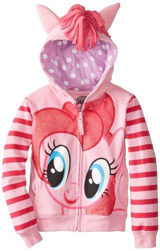 My Little Pony Pinkie Pie Striped Sleeves Girls Pink Hoodie (Girls 8/10) (My Little Pony Twilight Hoodie Mädchen)
