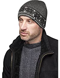 Mens Heat Holders Thermal Fairisle Jaquard Knitted Hat (Grey)