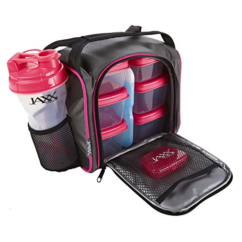 jaxx-fitpak-with-portion-control-container-set-reusable-ice-pack-and-shaker-cup-black-pink